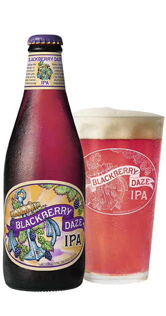 Blackberry Daze IPA Bottle and Glass