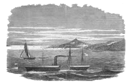 Side-wheel steamer with Telegraph Hill in the background