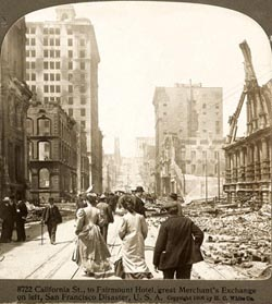 The Merchants Exchange after the 1906 San Francisco earthquake. Photo courtesy Dave Burkhart.