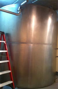 The exterior of the hot wort tank.