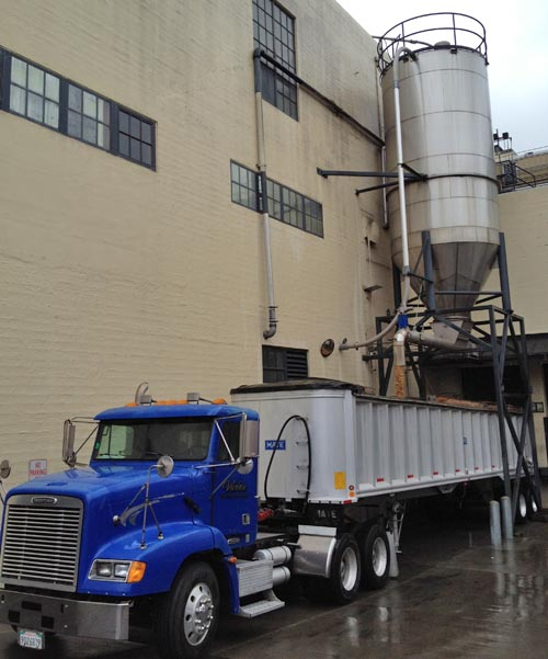 Spent hops and grains are transferred for transportation to a local dairy farm.
