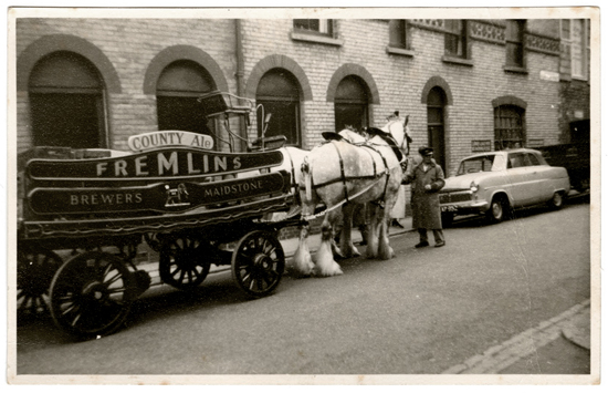 A Fremlins Beer Wagon in Maidstone, circa 1960. Fremlins was one of three breweries in Maidstone at the time Mark visited in the 1960s.  Ten years later, all were closed.