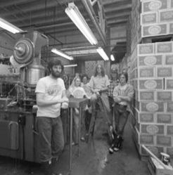 Mark Carpenter and crew in the Anchor brewery, circa the 1980s.
