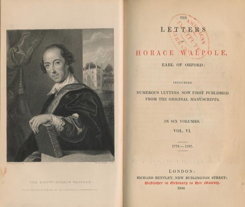 Frontispiece and Title Page from The Letters of Horace Walpole (1840).
