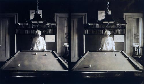 Stereoview of Mark Twain Playing Pool at Home.