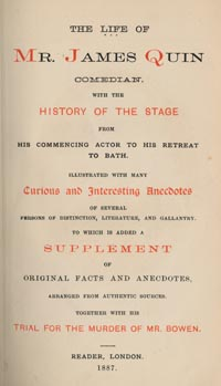 Title Page from The Life of Mr. James Quin (1887).