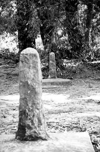 Two granite shafts still mark the spot near Lake Merced where two distinguished pioneer gentlemen stood in defense of their honor.