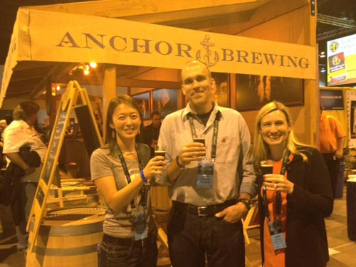 Belle and Phil with Laurie, who imports Anchor brews to Hong Kong.
