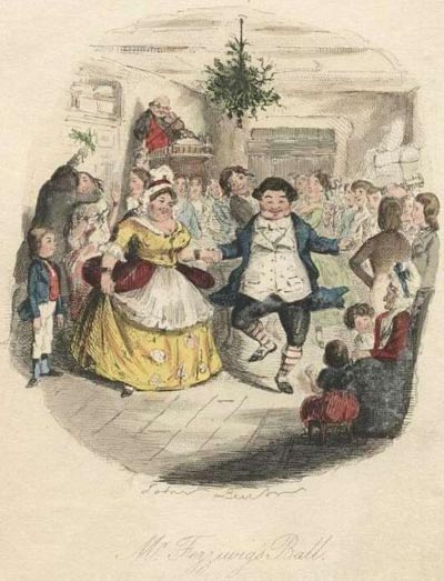 Victorian holiday revelry often associated wassail or spiced ale. Original illustration from Charles Dickens' A Christmas Carol, 1st ed.