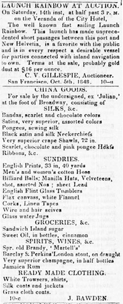 An advertisement from The Californian, October 7, 1848. The earliest record of stout in San Francisco.
