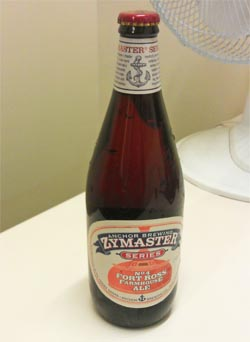 A bottle of Zymaster Series No. 4: Fort Ross Farmhouse Ale fresh off the bottling line and ready to enjoy.