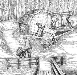 Icehouses were stocked with ice from nearby lakes and ponds for use in brewing during warmer months