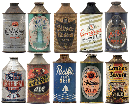 vintage-beer-cans-conical-top-500